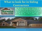 What to look for in Siding Contractors