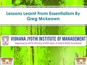 Lessons Learnt From Essentialism By Greg Mckeown VJIM Hyderabad