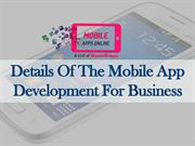 Details Of The Mobile App Development For Business