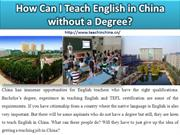 How Can I Teach English in China without a Degree?