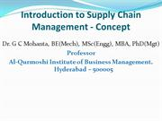 Introduction to Supply Chain Management Concept