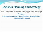 Logistics Planning and Strategy
