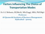 Factors Influencing the Choice of Transportation Modes