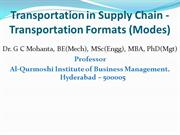 Transportation in SC-Transportation Formats (Modes)