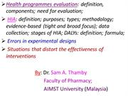 Health Research Evaluation; HIA; etc..