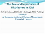 Role and Importance of Distributors in SCM_GCM