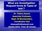 2. Dr Vishnu, Phlebotomy workshop,  Test Requ. forms & Types of test ?