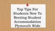 Top Tips For Students New To Renting Student Accommodation Plymouth Wi