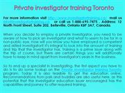 Private investigator training Toronto