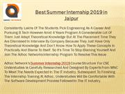 Best Summer Internship 2019 in Jaipur