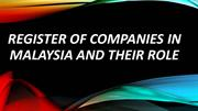 Register of Companies in Malaysia and Their Role