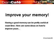 Revision - Memory Improvement Tips