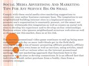 Social Media Advertising And Marketing Tips For Any Service Big Or Sma
