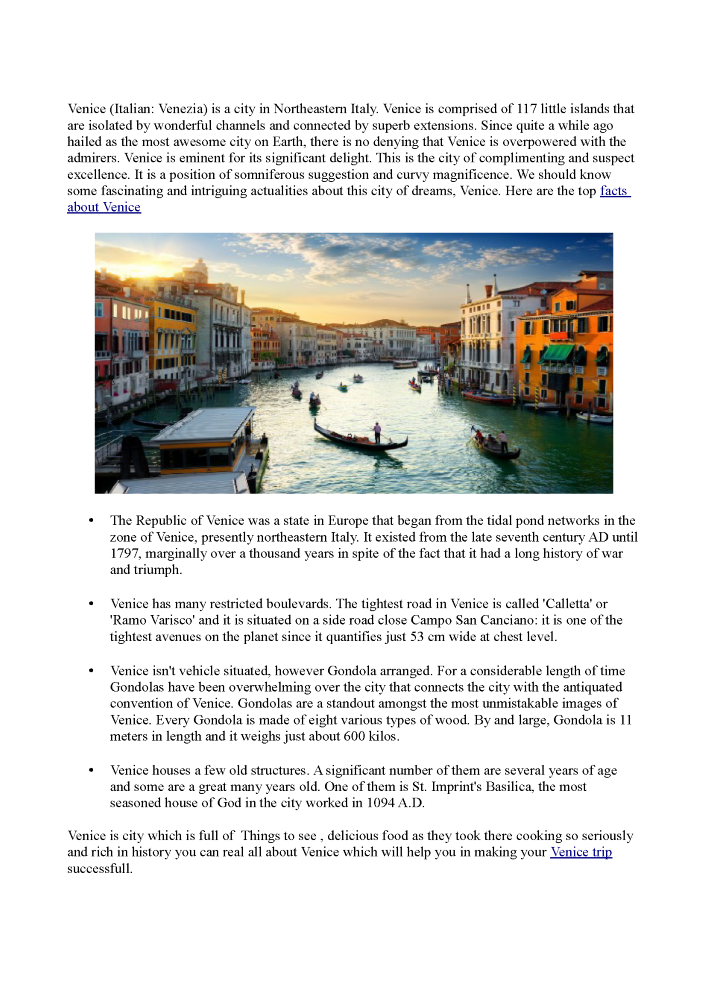 Facts about Venice |authorSTREAM