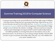 Summer Training 2019 for Computer Science