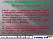 How to Reset MSN Password and Recovery Password