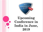 Upcoming Conference in India in June, 2019