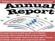 Workplace Compliance Services On The Value Of An Annual Report
