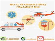Budget Air Ambulance Service from Patna to Delhi with Hifly ICU