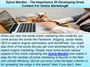 Sylvia Mardini - The Importance Of Developing Great Content For Online