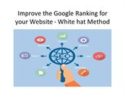 Improve the Google Ranking for your Website - White hat Method