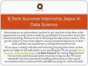 B.Tech Summer Internship Jaipur in Data Science
