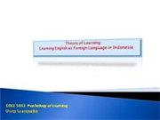 Psychology of Learning A Theory in Foreign Languag