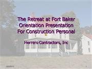 The Retreat at Fort Baker Orientation Pr