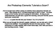 Are Photoshop Elements Tutorials a Scam?