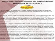 American Griddle Corporation to Demonstrate at the 2019