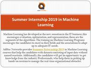 Summer Internship 2019 in Machine Learning