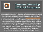 Summer Internship 2019 in R Language