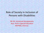 Role of Society in Inclusion of Persons with ASD