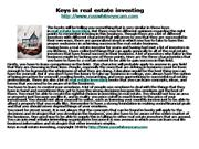 Keys in real estate investing