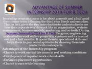 Advantage of Summer Internship 2019 for B.Tech