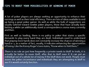 Tips to Boost Your Possibilities of Winning at