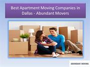 Best Apartment Moving Companies in Dallas - Abundant Movers