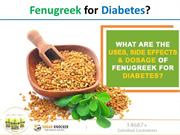 What are the uses, side effects, & dosage of Fenugreek for Diabetes?