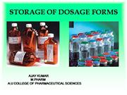A presentation  on storage of dosage for