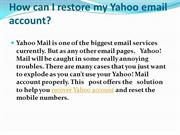 How can I restore my Yahoo email account