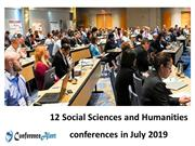 12 Social Sciences and Humanities Conferences in July 2019