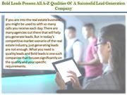 Bold Leads Possess All A-Z Qualities Of A Successful Lead Generation C