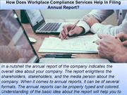 How Does Workplace Compliance Services Help In Filing Annual Report