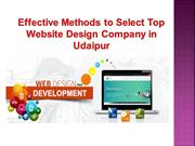 Effective Methods to Select Top Website Design Company in Udaipur