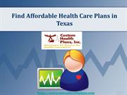 Find Affordable Health Care Plans in Texas