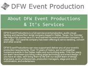 About DFW Event Productions & It's Services