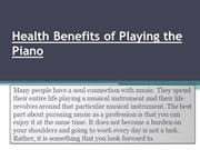 Health Benefits of Playing the Piano