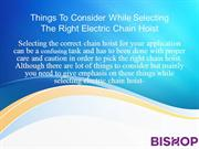 Things To Consider While Selecting The Right Electric Chain Hoist