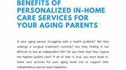 Benefits Of Personalized In-Home Care Services For Your Aging Parents
