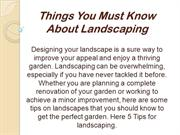 Things You Must Know About Landscaping